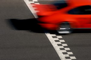 Race Car crossing Finish Line